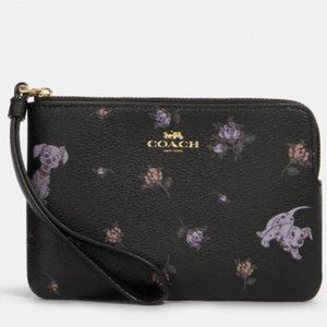 Disney X Coach Zip Wristlet With Dalmatian Floral